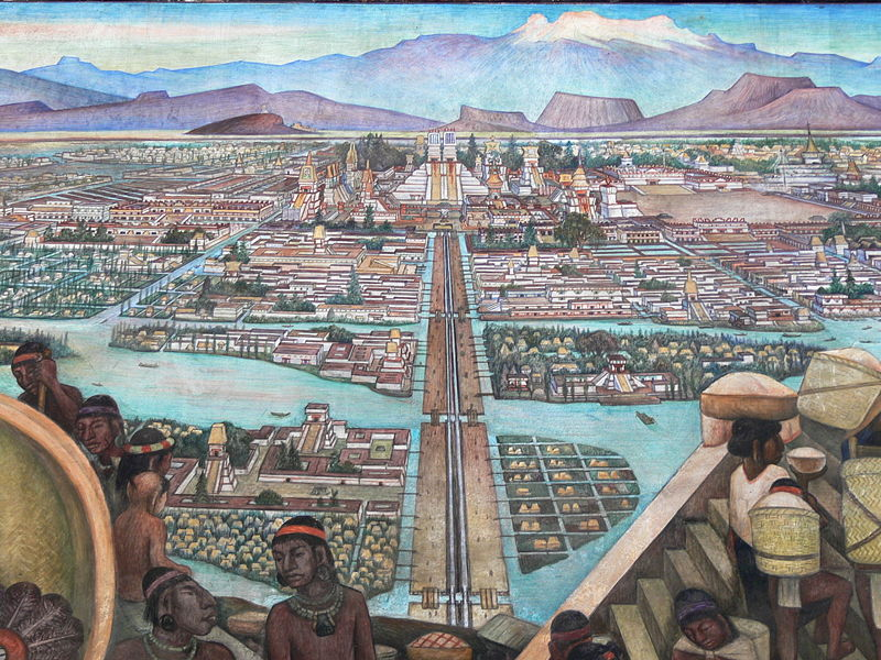 Mural by Diego Rivera depicting the view from the Tlatelolco markets into Mexico-Tenochtitlan, one of the largest cities in the world at the time.